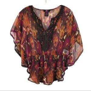 Ultra flirt overlay blouse top
